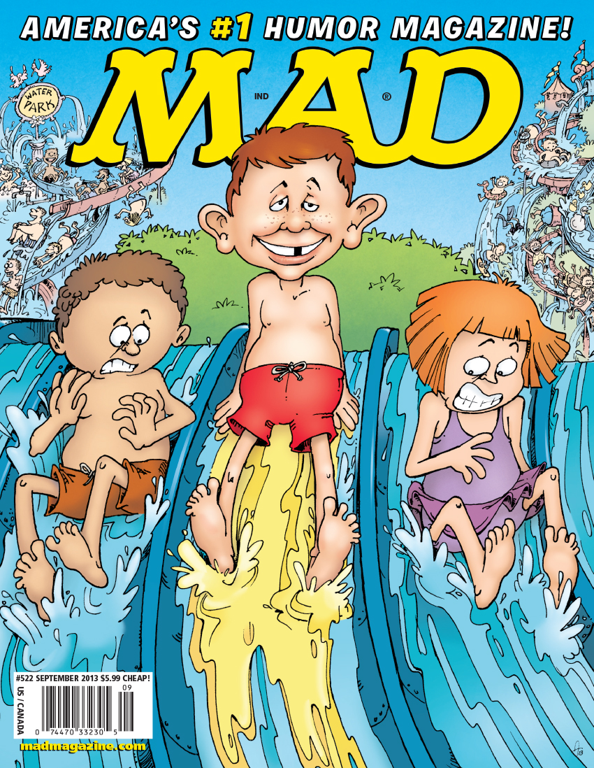 MAD Covers, Sergio Aragonés, Alfred E. Neuman, Summer, Swimming, Water Park, Amusement, Rides, Water Slide, Vacation