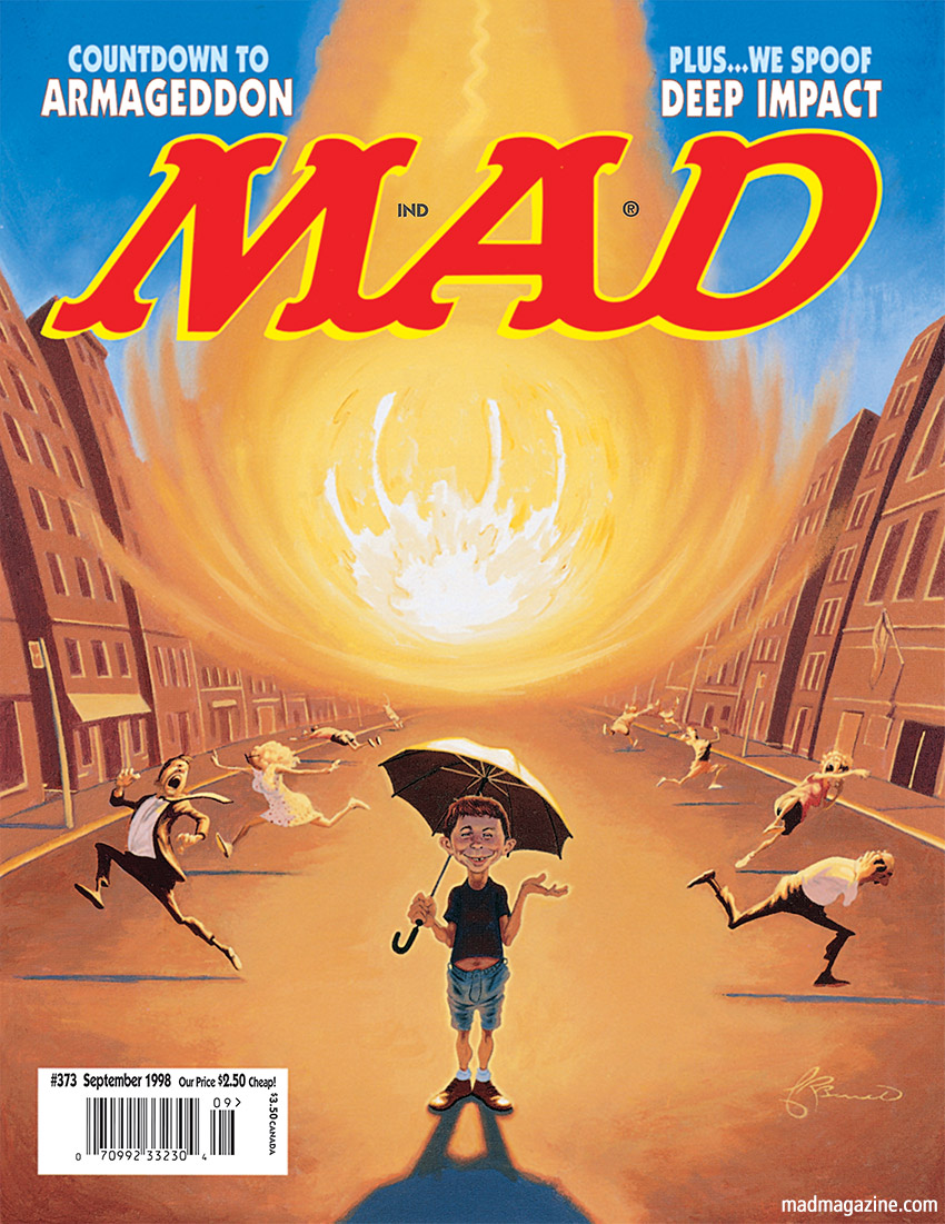 mad magazine the idiotical deep impact MAD Responds to the Meteor Threat MAD Covers, Asteroid, Meteor, Armageddon, Alfred E. Neuman, James Bennett, MAD #373, Classic MAD