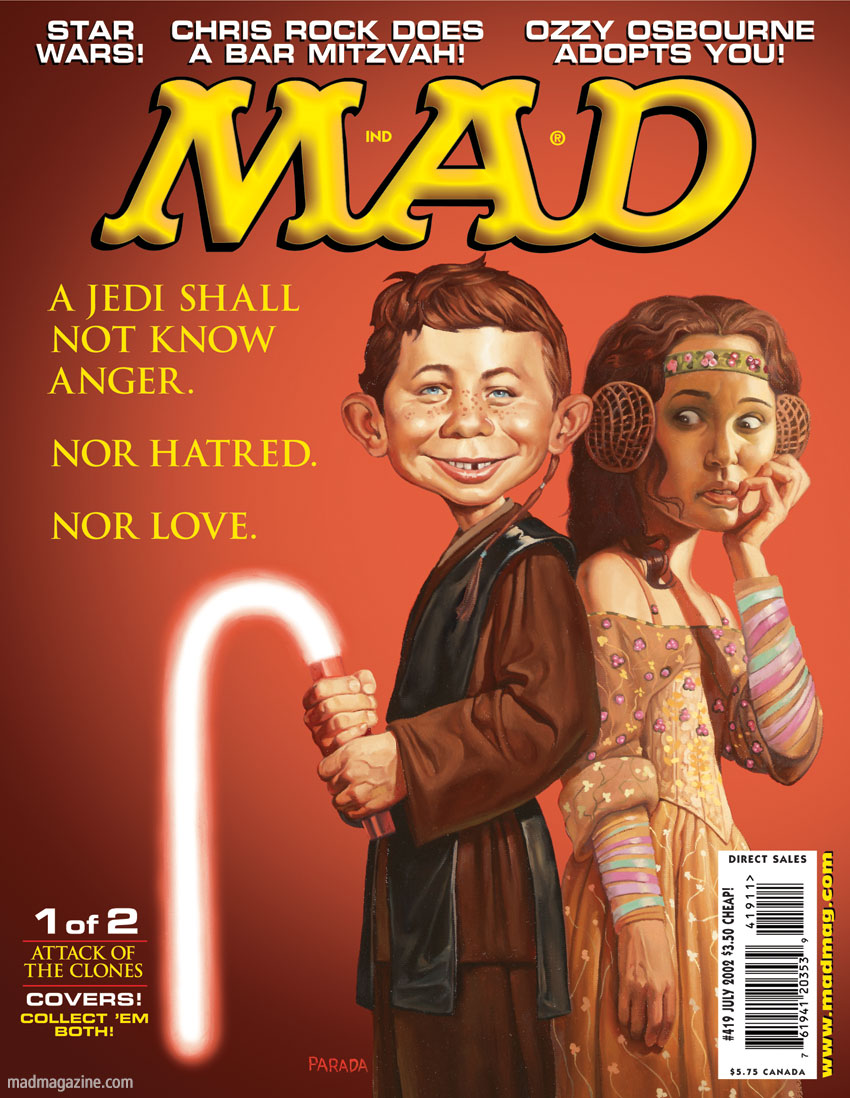 mad magazine the idiotical Happy 69th Birthday, George Lucas! MAD Covers, Classic MAD, Star Wars, George Lucas, Roberto Parada, Alfred E. Neuman, Anakin Skywalker, Jedi, Natalie Portman, Movies, Padme Amidala, Attack of the Clones