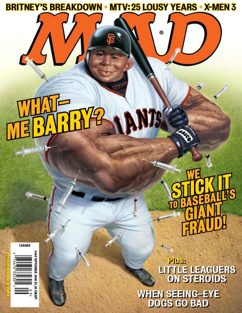 Classic MAD: Barry Bonds Hits His 700th Home Run Classic MAD, Sports, Baseball, MAD Covers, MAD #469, Barry Bonds, Steroids, Mark Fredrickson, British Knights Sneakerfreaks