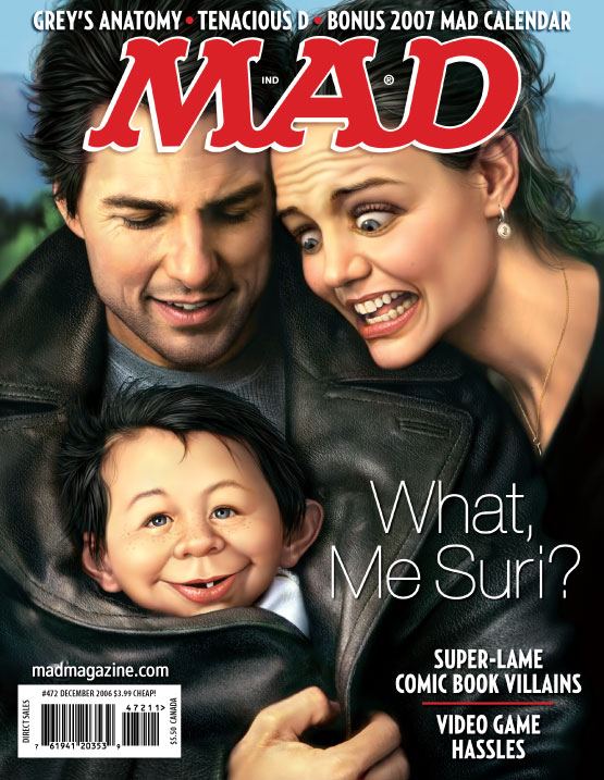 MAD Remembers Tom Cruise and Katie Holmes in Happier Times mad magazine the idiotical MAD Covers, Tom Cruise, Katie Holmes, Suri Cruise, Scientology, Mark Fredrickson, Celebrities