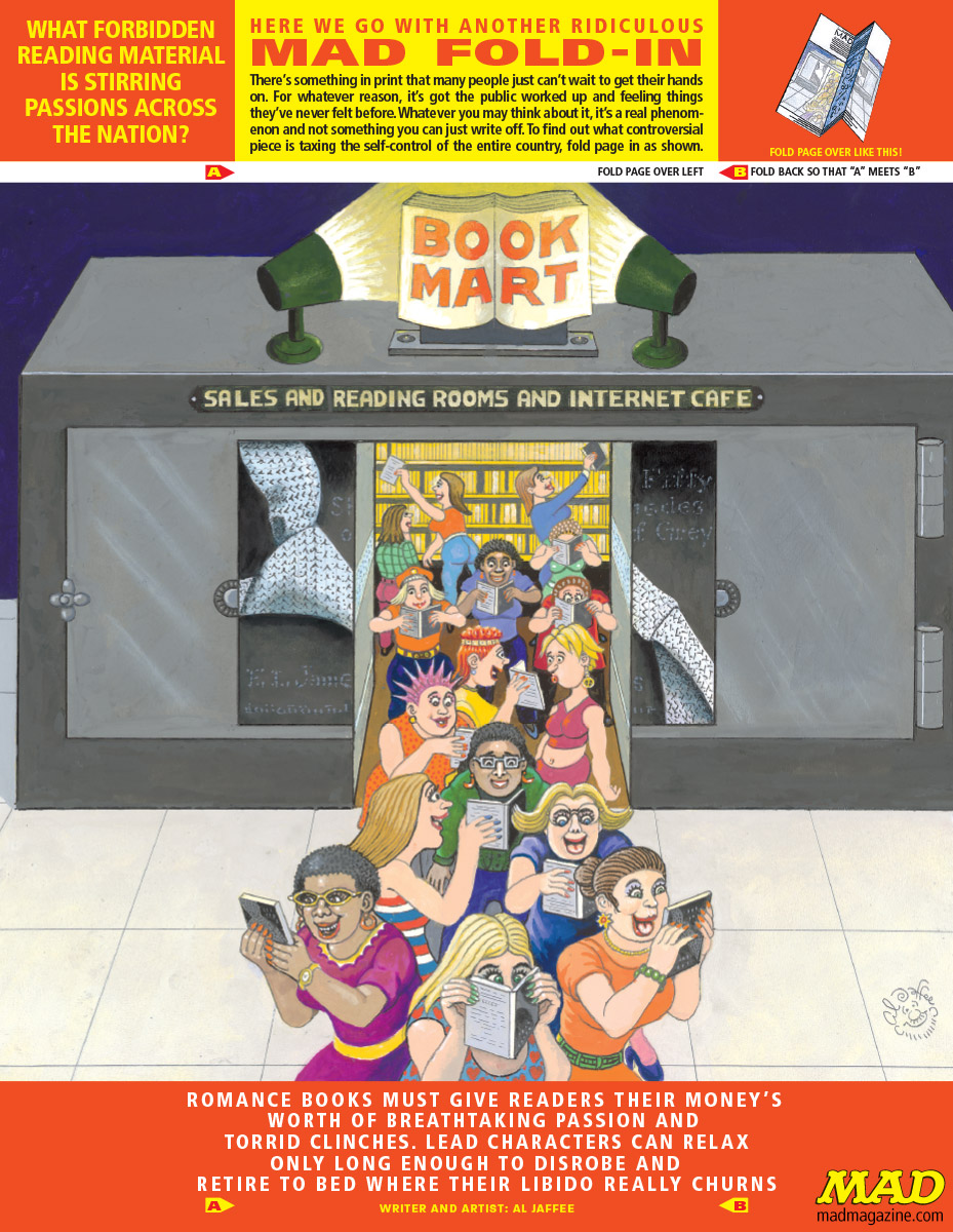 mad magazine the idiotical The MAD Fold-In: What Forbidden Reading Material is Stirring Passions Across the Nation? Fold-In, Al Jaffee, Politics, Society and Culture mitt romney 50 shades of grey fifty