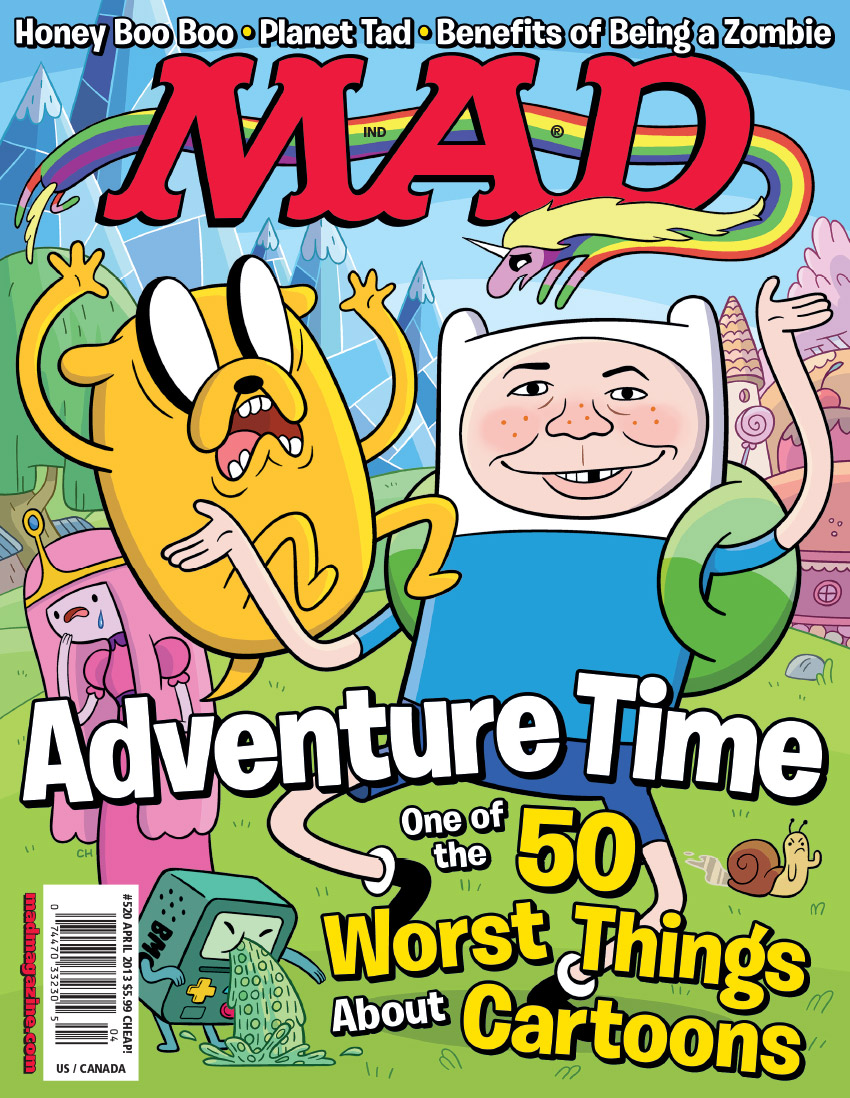 "mad magazine the idiotical The MAD ""Adventure Time"" Cover MAD Covers, Adventure Time, Cartoons, 50 Worst Things About Cartoons, Chris Houghton, Finn the Human, Jake the Dog, Cartoon Network, Pendleton Ward, Alfred E. Neuman"