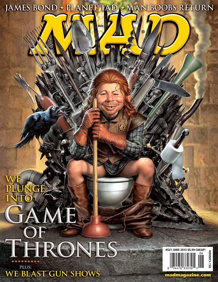 "mad magazine the idiotical MAD's ""Game of Thrones"" Cover MAD Covers, Game of Thrones, Alfred E. Neuman, Television, Fantasy, George R. R. Martin, Ned Stark, Mark Fredrickson, Toilets"