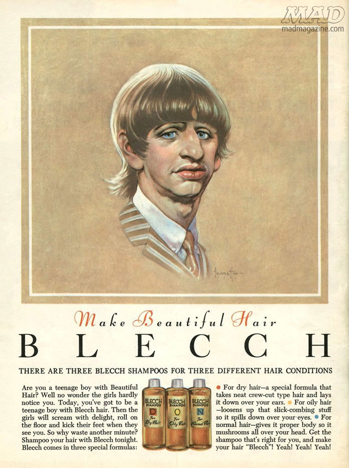 mad magazine the idiotical MAD Staff, Back Covers, MAD Back Covers, Staff Favorite Back Covers, Staff Favorites, Sam Viviano, Ralph William Williams, Charles Sheldon, Fake Ads, Ad Parodies, Breck Shampoo, Ringo Starr, the Beatles, Frank Frazetta, blecch shampoo