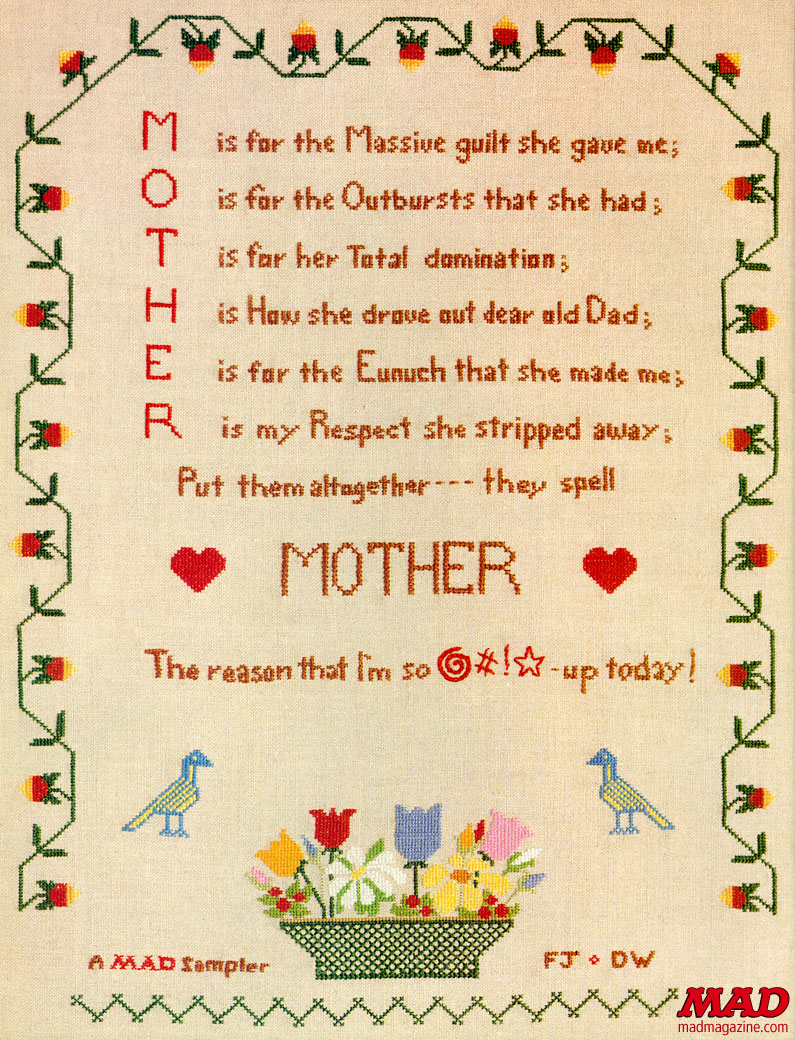 MAD Magazine Mother's Day Sampler A Poem for Mother Deborah Mills Woodbridge Frank Jacobs David Connor The Idiotical