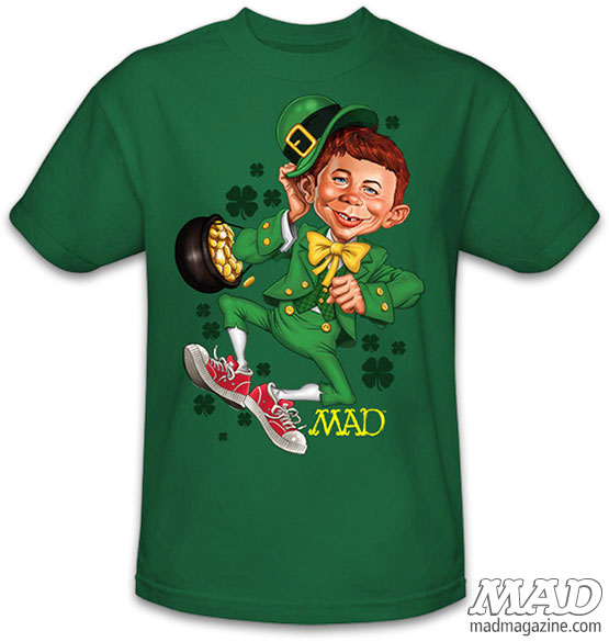 MAD Merchandise, T-Shirts, Clothing, Alfred E. Neuman, St. Patrick's Day, Holidays, Leprechauns