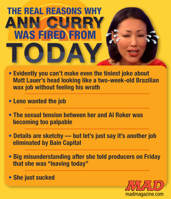 "mad magazine the idiotical The Real Reasons Why Ann Curry Was Fired from ""The Today Show"""