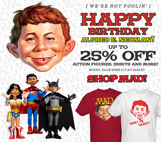MAD Merchandise, Alfred E. Neuman, Toys, T-Shirts, April Fool's Day