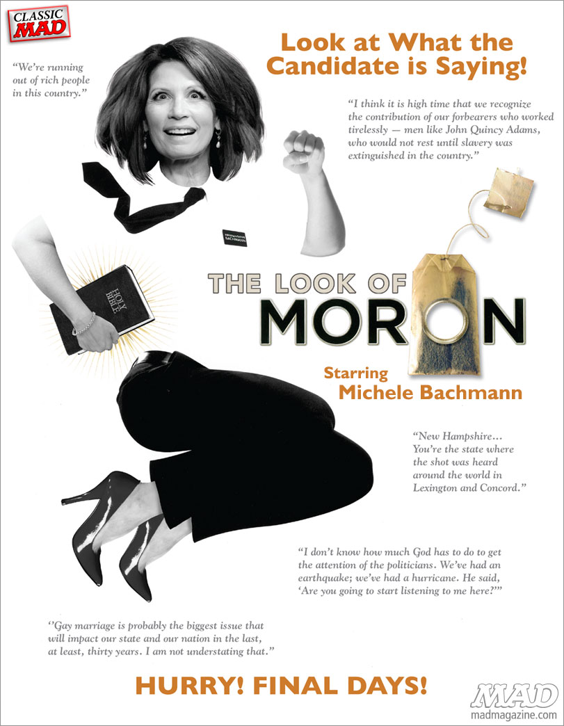 mad magazine the idiotical Michele Bachmann Quits Congress: MAD Will Miss Her! Classic MAD, Politics, Congress, Michelle Bachmann, Minnesota, Book of Mormon, MAD 20 Dumbest, Frank Santopadre, Genevieve Sterbenz, House of Representatives, Republicans, GOP
