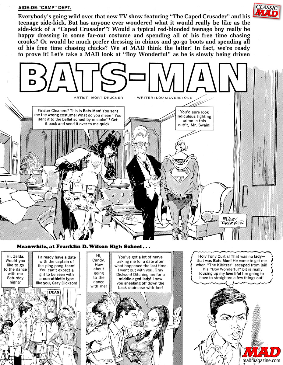 mad magazine the idiotical batman bats-man splash television parody parodies mort drucker lou silverstone mad 105