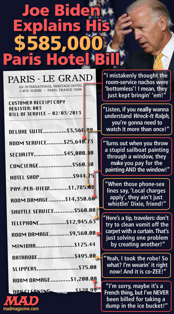 "mad magazine the idiotical Joe Biden Explains His $585,000 Paris Hotel Bill Idiotical Originals, Politics, Joe Biden, Vice President, Barack Obama, White House, Foreign, Travel, Diplomacy, Paris, France, ""Magic Fingers"" Most Popular Settings"