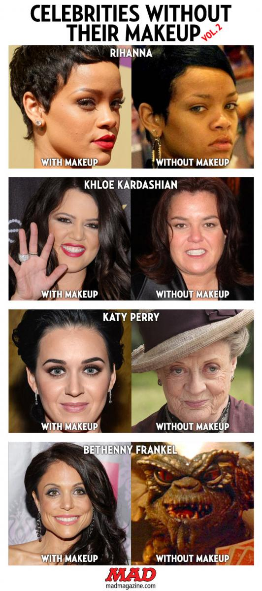 mad magazine the idiotical Celebrities Without Their Makeup, Vol. 2  Idiotical Originals, Celebrities, Society and Culture, Rihanna, Khloe Kardashian, Rosie O'Donnell, Katy Perry, Maggie Smith, Bethenny Frankel, Stripe, Gremlins, Tomax and Xamot Fan Club Registration