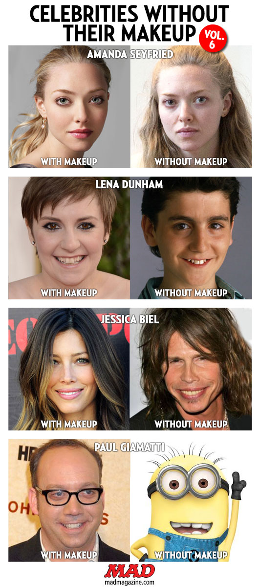 "mad magazine the idiotical Celebrities Without Their Makeup, Vol. 6 Idiotical Originals, Celebrities, Society and Culture, Celebrities Without Their Makeup, Amanda Seyfried, Lena Dunham, Max Casella, Vinnie Delpino, Jessica Biel, Steven Tyler, Paul Giamatti, Despicable Me, Minions, ""Sugar Ray"" Liotta"