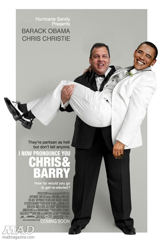 mad magazine the idiotical Barack Obama and Chris Christie's Mutual Admiration Idiotical Originals, Politics, Barack Obama, Chris Christie, Hurricane Sandy, Presidential Election, Presidential Campaign, GOP, Democrats, Bi-Partisanship, Presidents, Governors, Movie Posters, MAD Posters, I Now Pronounce You Chuck & Larry, Chris and Barry