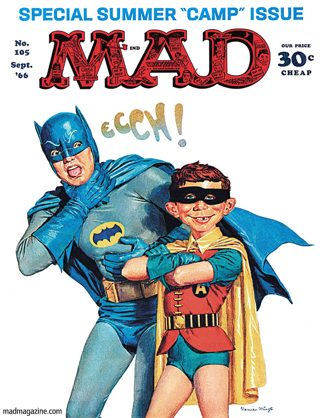 mad magazine the idiotical cover 105 batman adam west television burt ward camp norman mingo