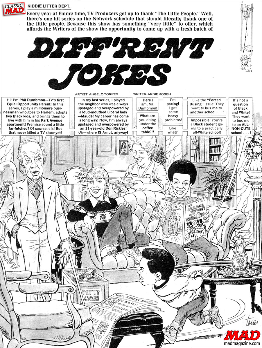 mad magazine the idiotical R.I.P. Conrad Bain, Actor Classic MAD, R.I.P., Television, Movie and TV Satires, Conrad Bain, Diff'rent Strokes, Diff'rent Jokes, Angelo Torres, Arnie Kogen