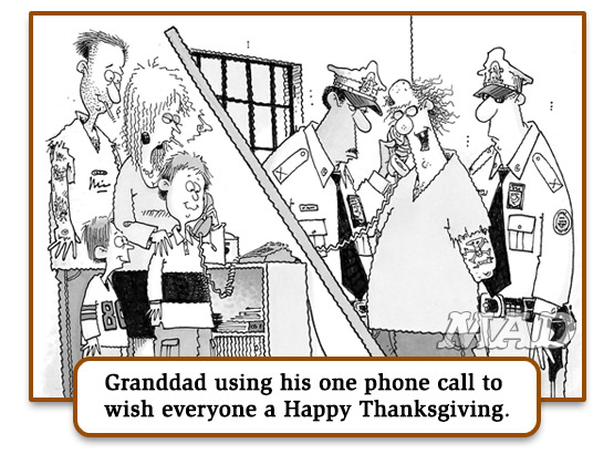 "mad magazine blog the idiotical John Caldwell's ""Dysfunctional Family Thanksgiving Memories"" Classic MAD, Thanksgiving, John Caldwell, Holidays, Dysfunctional Families, MAD #436"