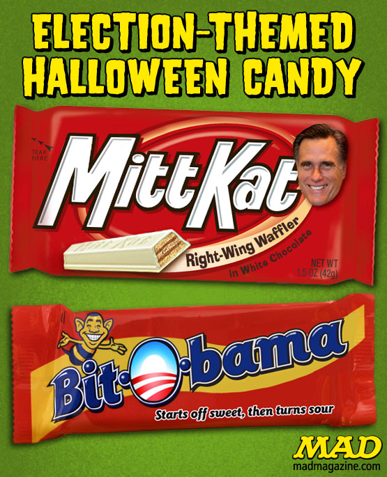 Idiotical Originals, Politics, Halloween, Candy, Barack Obama, Mitt Romney, Presidential Race, Bit-O-Honey, Bit-O-Bama, Mitt Kat, Kit Kat, Presidential Election, GOP, Republicans, Democrats, Campaign, Election, Voting, America, Mormon Taffy Pulls