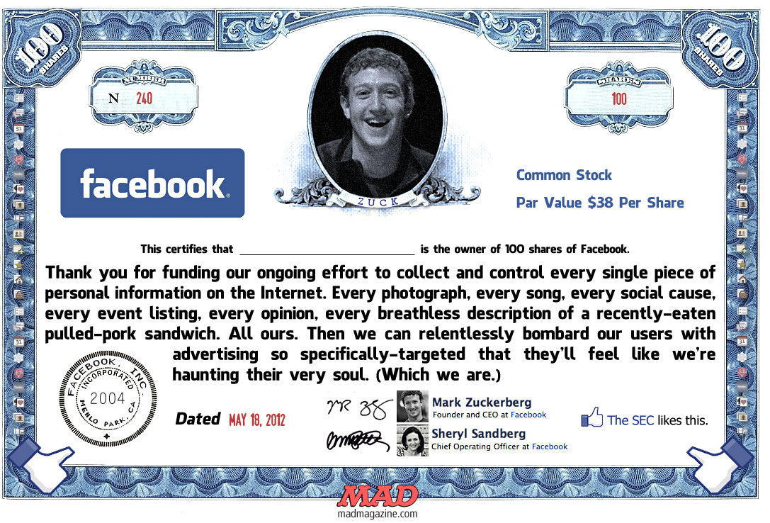 MAD Magazine Facebook Stock Certificate The Idiotical Mark Zuckerberg
