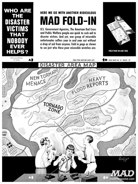 mad magazine the idiotical A Classic MAD Fold-in: Who Are the Disaster Victims that Nobody Ever Helps? Classic MAD, Al Jaffee, Fold-in, Sports, New York Mets, Baseball