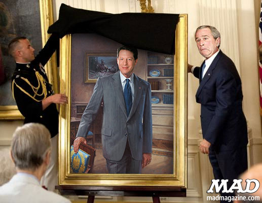 MAD Magazine Exclusive: The Unveiling of the Official Portrait of the 43rd President United States George W. Dubya Bush Al Gore Vice President The Idiotical