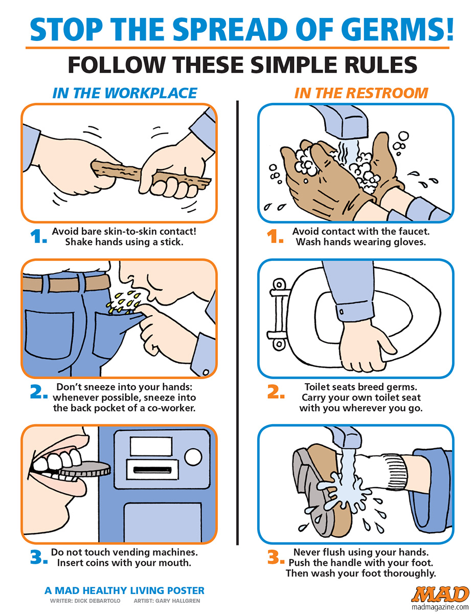 MAD MAGAZINE THE IDIOTICAL IMPORTANT TIPS FOR PREVENTING THE SPREAD OF GERMS CLASSIC MAD HAND WASHING GERMS THE GLIMMER MAN FAN FICTION
