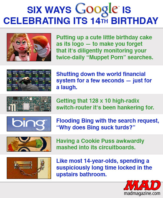 mad magazine the idiotical Six Ways Google is Celebrating its 14th Birthday Idiotical Originals, Technology, Google, Birthdays, Search Engine, Larry Page, Sergey Brin, Bing, Yahoo, Computers, Hungry Hungry Hippos Fatalities