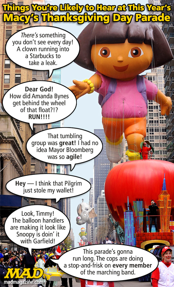 Things You're Likely to Hear at This Year's Macy's Thanksgiving Day Parade Idiotical Originals, Holidays, Thanksgiving, Amanda Bynes, Mayor Bloomberg, Thanksgiving Day Parade, Snoopy, Garfield, Macy's, Overheard, Floats, Balloons, Karl Marx
