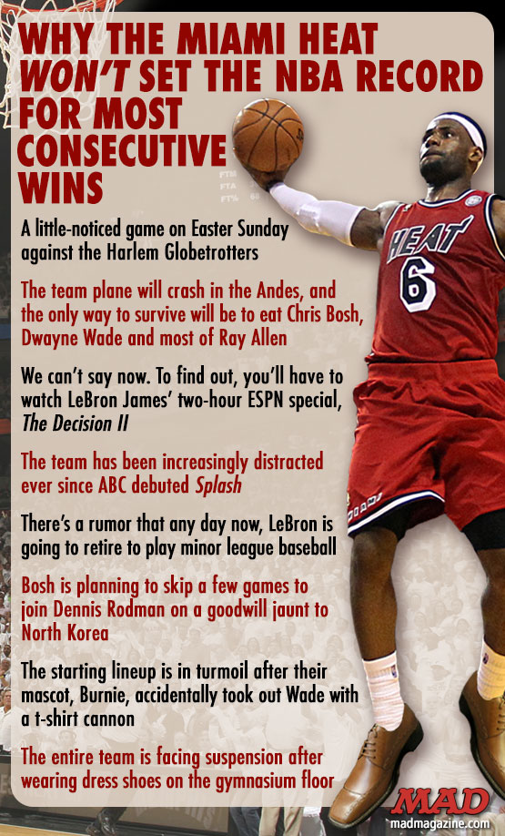 mad magazine the idiotical Why the Miami Heat Won't Set the NBA Record for Most Consecutive Wins idiotical Originals, Sports, Basketball, NBA, Miami Heat, LeBron James, Dwyane Wade, Chris Bosh, Winning, Streak, Record, Norwegian Ballroom Death Metal