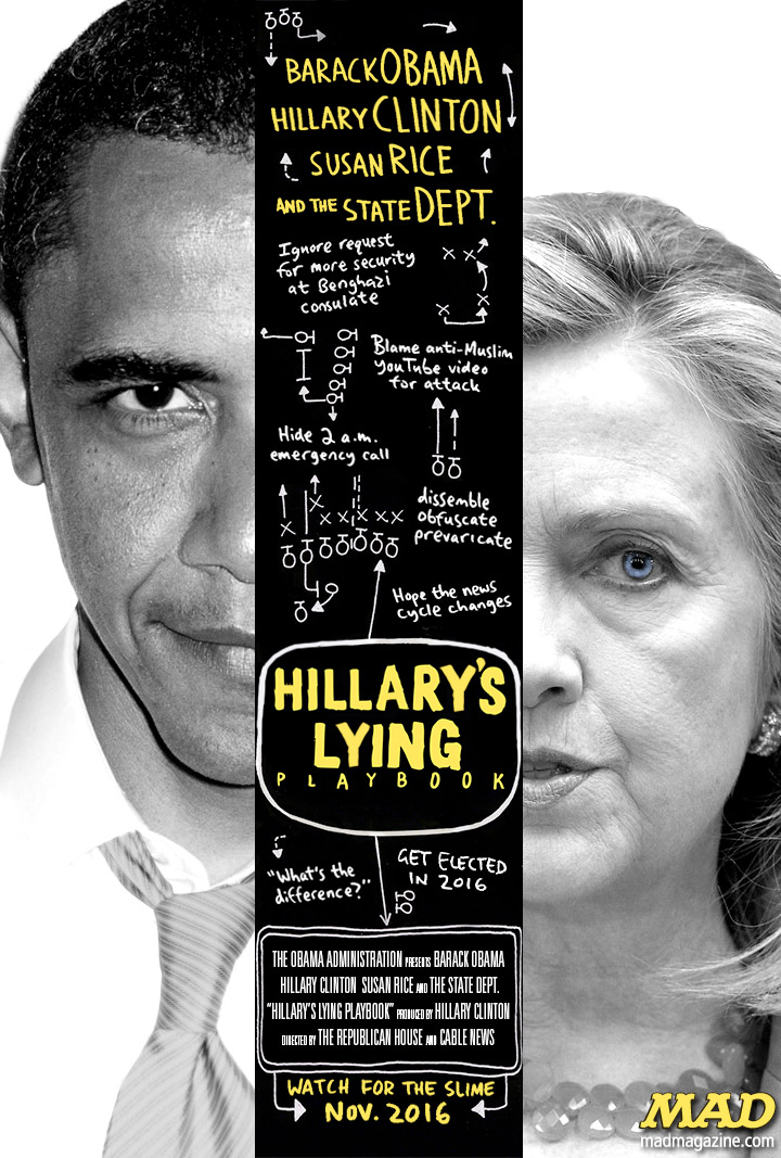 MAD Magazine The Idiotical Hillary Clintion's Troubling New Movie Idiotical Originals, Politics, Benghazi, Libya, Hillary Clinton, Lindsey Graham, Barack Obama, Secretary of State, Controversy, Susan Rice, Greg Hicks, Chris Stevens, Rand Paul, Hostess Hoarders