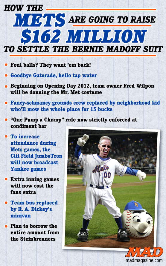 MAD Magazine How the Mets Will Raise 162 Million to Settle the Bernie Madoff Suit Fred Wilpon Baseball MLB Major league mr met