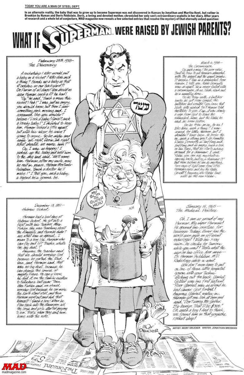 mad magazine what is superman were raised by jewish parents mort drucker jonthan bresman the idiotical