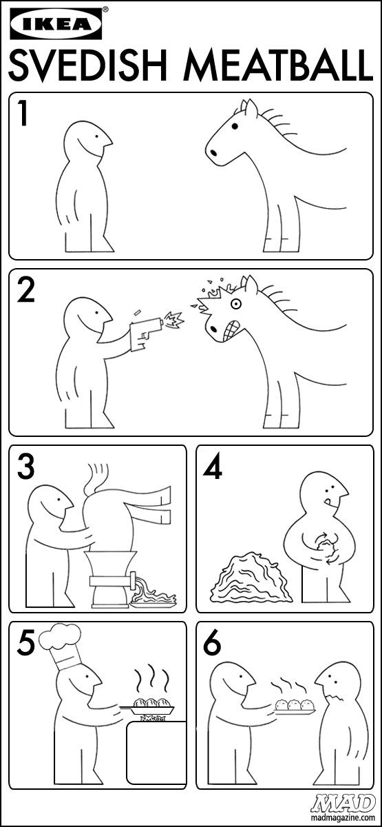 Ikea Swedish Horse Meatball Instructions Mad Magazine