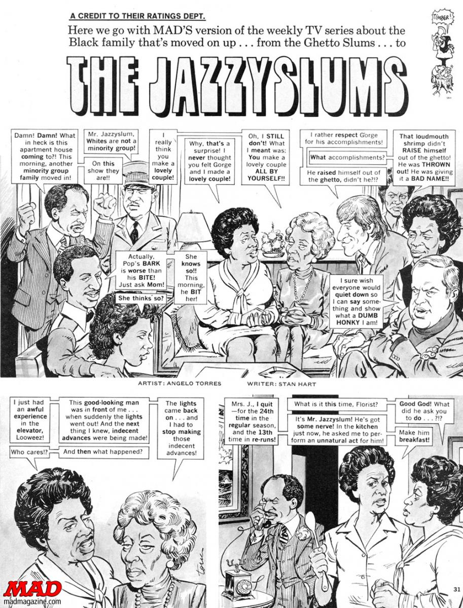 mad magazine the idiotical R.I.P. Sherman Hemsley, Actor R.I.P., Sherman Hemsley, The Jeffersons, Television, Movie and TV Satires, Norman Lear, Sitcoms, Angelo Torres, Stan Hart