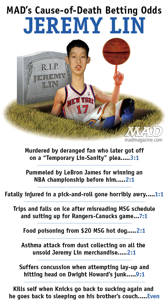 MAD Magazine Cause of Death Betting Odds Jeremy Lin New York Knicks Basketball NBA The Idiotical