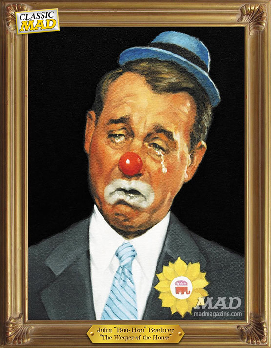 mad magazine the idiotical Classic MAD, Politics, Republican Party, Congress, Washington D.C., John Boehner, Speaker of the House, Clown, Crying, Richard Williams, Extreme Vole Wrestling