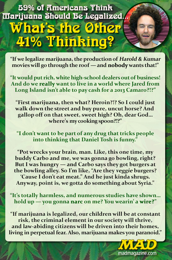 mad magazine the idiotical 59% of Americans Think Marijuana Should Be Legalized…What's the Other 41% Thinking? Idiotical Originals, Society and Culture, Drugs, Marijuana, Legalization, Intercontinental Pencil-Fighting Championships