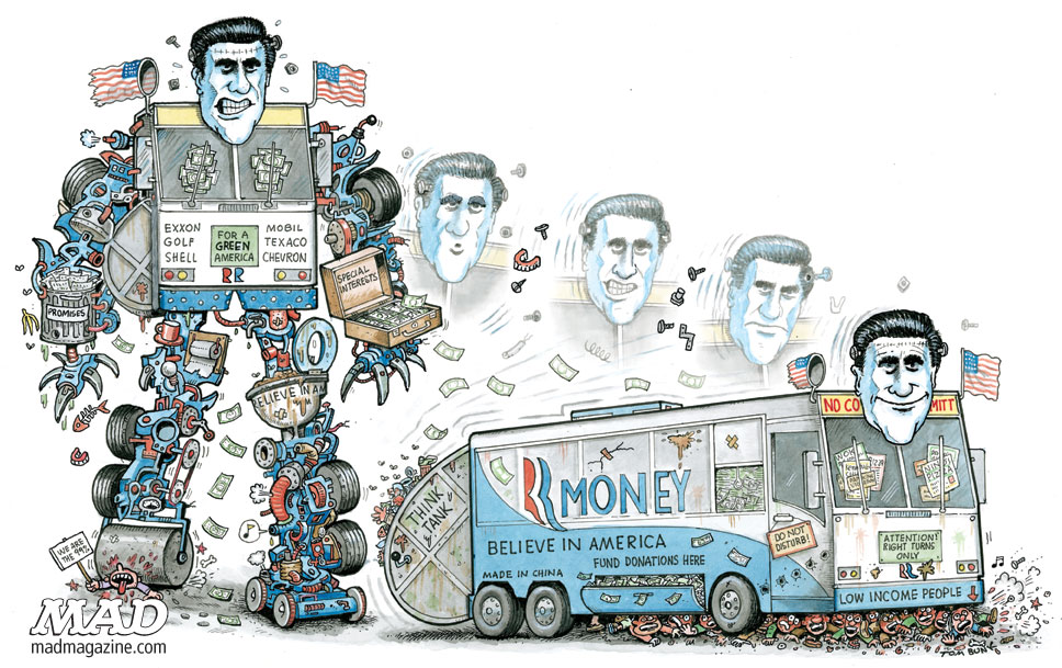 mad magazine the idiotical Artist Spotlight: Tom Bunk Artist Spotlight, Tom Bunk, Mitt Romney, Politics, Transformers, Republicans, GOP, Presidential Campaign, Presidential Election, Election, MAD #517