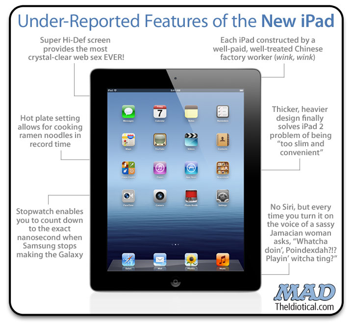 MAD Magazine New iPad Under-Reported Features Apple ipad 3 the idiotical theidiotical.com siri