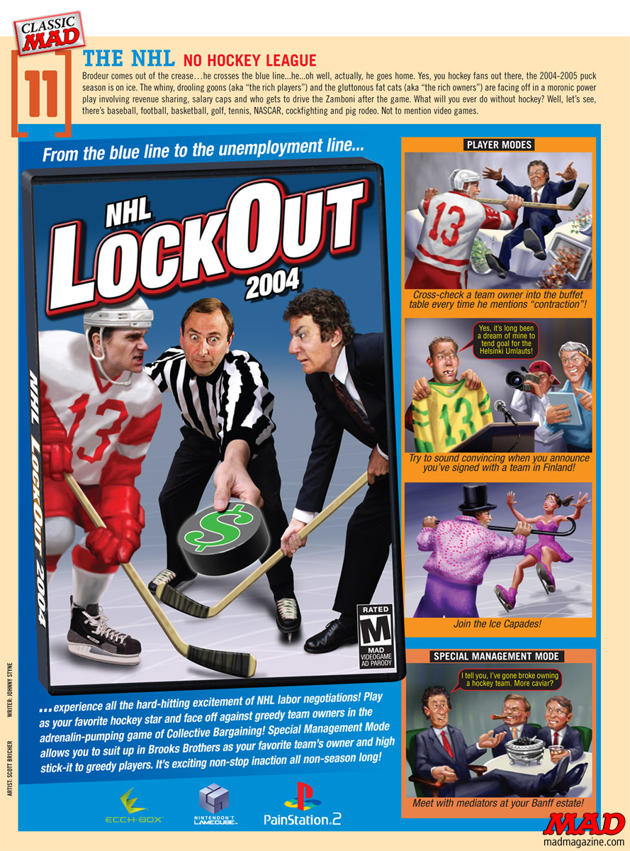 mad magazine the idiiotical Classic MAD: No Hockey League Classic MAD, Sports, NHL, Hockey, Lock-out, Video Games