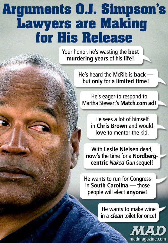 mad magazine the idiotical Arguments O.J. Simpson's Lawyers are Making for His Release Idiotical Originals, Society & Culture, Sports, O.J. Simpson, Dream Team, Nicole Brown Simpson, Ron Goldman, Las Vegas, Memorabilia, Heisman, Crime, Murder, Justice, Trial, Judge, Prison, Jail, Plea, Lawyers, White Bronco, Mock Apple pie/Mock Turtleneck Combo Meals