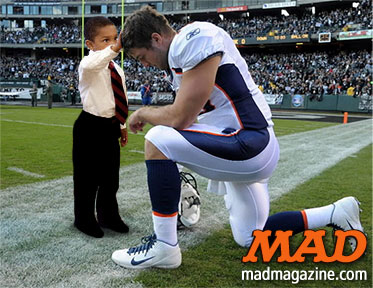 MAD Magazine The Further Adventures of Obama Head-Touch Boy The Idiotical Politics, Barack Obama, Jacob Philadelphia, Oval Office, New York Times, Aardvark Husbandry Tim Tebow