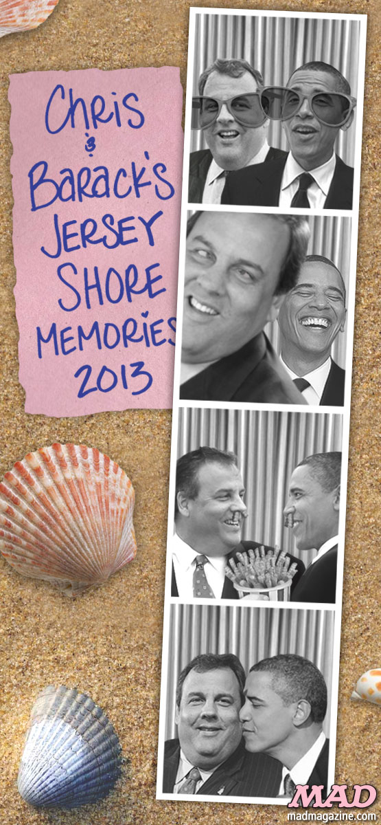 mad magazine the idiotical Obama and Christie: Jersey Shore BFFs Idiotical Originals, Politics, Barack Obama, Chris Christie, Jersey Shore, New Jersey, Presidents, Governors, Hurricane Sandy, Bipartisanship, Storm Damage, Chicago Bears Teddy Bear, Boardwalk, Propagating Ferns