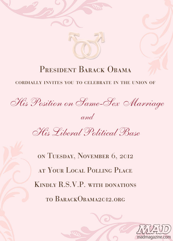 MAD Magazine Barack Obama Gay Wedding Support Invitiation