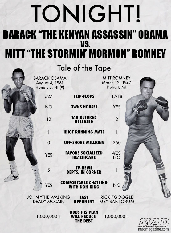 mad magazine the idiotical Obama vs. Romney Presidential Debate: The Tale of the Tape  Idiotical Originals, Barack Obama, Mitt Romney, Politics, Presidential Debate, Presidential Campaign, Presidential Election, Don King, Punkin' Chunkin' Competitions