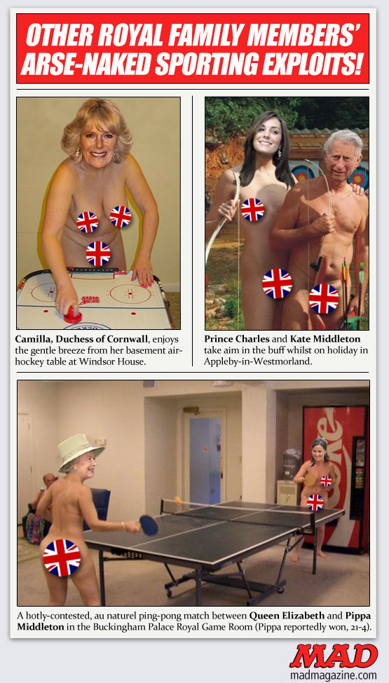 mad magazine the idiotical Other Royal Family Members in the Buff Idiotical Originals, Society & Culture, Prince Harry, Prince William, Kate Middleton, Royalty, England, Queen Elizabeth II, Prince Charles, Camilla Parker Bowles, Pippa Middleton, Crown Jewels, Billiards, Pool, Quik Bunny Sextape