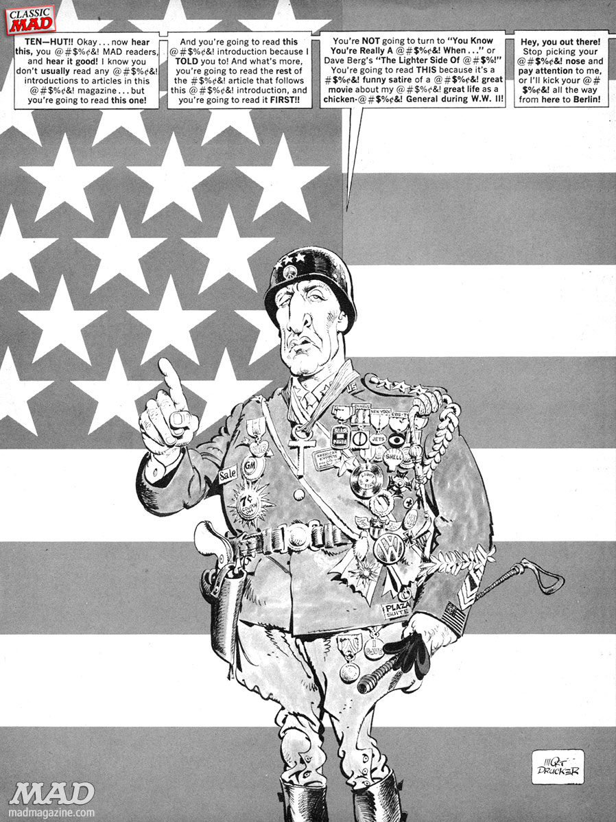 mad magazine the idiotical patton put-on mort drucker larry siegel world war ii d-day normany george s patton george c scott movies classic mad movie and tv satires