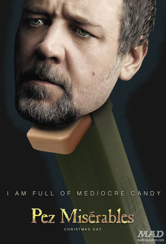 diotical Originals, Movies, Movie Posters, Les Miserables, Oscars, Russell Crowe, Anne Hathaway, Hugh Jackman, Pez, Pez Dispenser, Candy, MAD Posters, John Updike Dunking Highlights