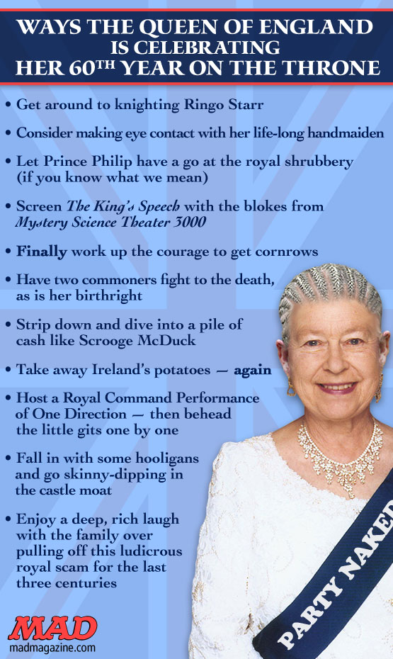 Ways the Queen of England is Celebrating Her 60th Anniversary on the Throne Idiotical Originals, Society & Culture, Queen Elizabeth II, Royal Family, Celebrations, Britain, England, Donald Trump Sex Tape, Ringo Starr, Prince Philip, The King's Speech, Mystery Science Theater 3000, Scrooge McDuck, One Direction